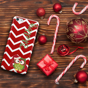 Kids Christmas Iphone 4s case, Owl in Christmas hat with chevron, Holiday Iphone 5s case, Xmas Iphone 5c case  (1148)