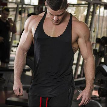 Brand Solid Clothing Bodybuilding Tank Top Mens Sleeveless Shirts Fitness Men Singlets Blank Cotton Workout Stringer Gyms Vest