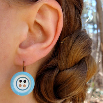 "Retro Earrings, Turquoise Dangle Buttons, Blue Vintage Nickel Free Drops, White Sky Blue Hooks, Eco Friendly Jewelry - ""Retro Rebel II"""
