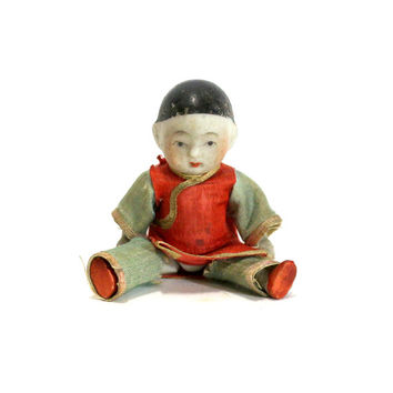Old Tiny Porcelain Doll, Antique Asian Miniature Toy, Silk Clothing