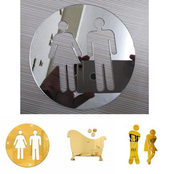 3D Acrylic Bathroom Mirror Stickers Woman&Man Toilet Sign Mirror Wall Sticker Home Hotel Washroom Door Sign Mirror Sticker