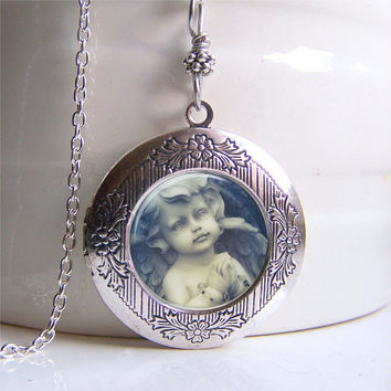 Locket - Vintage Style Antique Silver Photo Locket, Cherub Locket