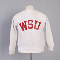 Vintage 70s Champion SWEATSHIRT / 1970s Champion Blue Bar WSU Washington State Crewneck M - L