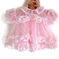Vintage Baby Dress- Frilly Pink-Lace-Puff Sleeves-Pink Rosettes-Matching Diaper Cover-Doll Clothes-Ribbons-6 Months