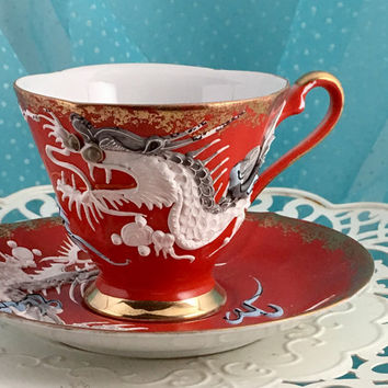 Antique Castle Tea Cup and Saucer, Japanese Dragonware, Red Tea Cup, Footed Tea Cup Set, Dragon Teacup Set, Hand Painted
