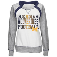 Michigan Wolverines Women's Counter IV Crew Neck with Beading Pullover Sweatshirt - White