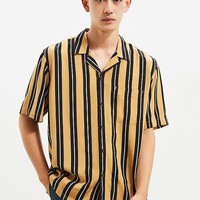 UO Vertical Stripe Rayon Short Sleeve Button-Down Shirt | Urban Outfitters