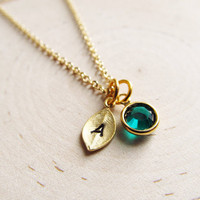Initial Birthstone Necklace, Gold Birthstone Necklace, Personalized Necklace, Personalized Birthstone Jewelry, Petite, Tiny Initial Necklace