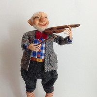 Paper clay doll Sculpted doll  Interior doll violinist Collecting doll OOAK other Clay doll Decorative doll Human figure doll Doll artist