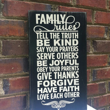 Sign Family Rules  Distressed 15 by 9  Wedding Gift  Home Decor Housewarming