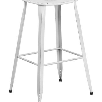 Flash Furniture 30'' High Distressed White Metal Indoor and Outdoor Barstool