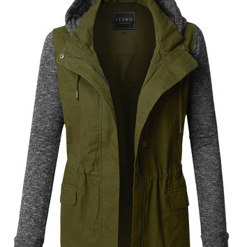 Lightweight Military Anorak Jacket with Detachable Fleece Hoodie
