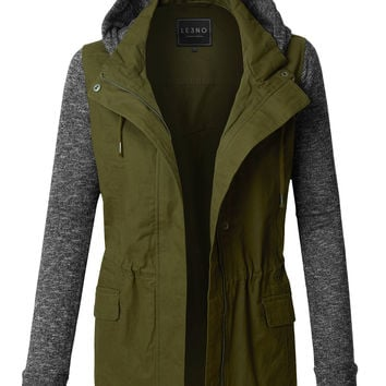 Womens Lightweight Military Anorak Jacket with Detachable Fleece Hoodie