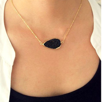 Black Druzy Gold Necklace Layered Long Onyx Black Gray Geode Quartz Crystal Stone Drusy Gemstone Raw Rustic Modern Statement Natural C1