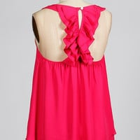 Double Ruffle Back Tank - Pink