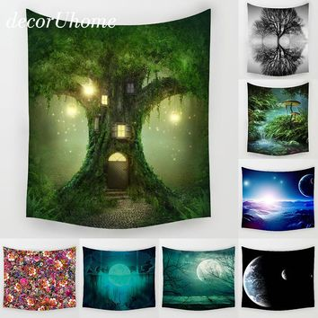 DecorUhome Night Scenry Decoration Beach Round Towel Plant Flowers Wall Carpet Home Decor  Hanging Living Printing Wall Tapestry
