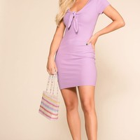 Lydia Lavender Tie-Front Mini Dress
