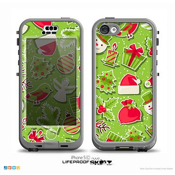 The Red and Green Christmas Icons Skin for the iPhone 5c nüüd LifeProof Case