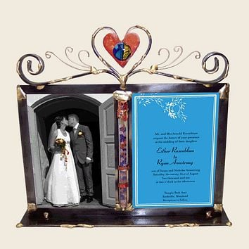 Full Heart Wedding Glass Keepsake Double Photo Frame By Gary Rosenthal, Keepsakes In Blue,multi-Colored,red,gray,silver,grey Size: 2.5 L X 12.5 W X 11 H