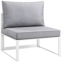 Fortuna Outdoor Patio Armless Chair in White Gray