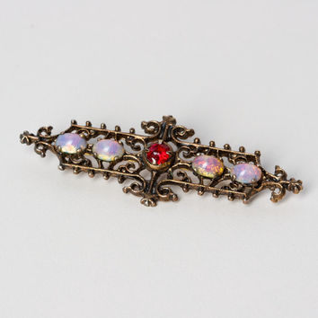 Vintage Sarah Coventry Filigree Vermeil Brooch with Opal and Red Stones
