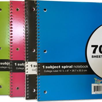 70 SHEET - Spiral Bound 1 SUBJECT NOTEBOOK - COLLEGE RULED - CASE OF 24