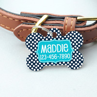 Personalized Pet Id Tag - Custom Dog Tag - Navy Turquoise Big Dots