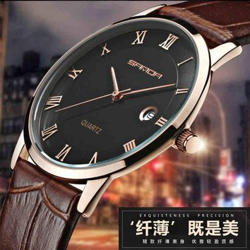 7mm Super Slim Fashion SANDA Mens Watches top brand luxury fashion Genuine Leather Watch Men Calendar Clock relogio masculino