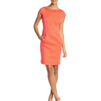 Sandra Darren Women's Cap-Sleeve Sheath Dress