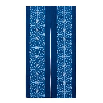 Japanese Traditional Textile Hemp Leaves Dark Blue Noren Cotton Curtain Blind