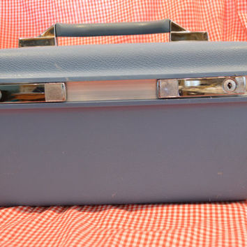 Samsonite Makeup Case with tray, Blue Samsonite , Vintage Makeup Case, Samsonite Train Case with tray, Vintage Train Case , Vintage Luggage