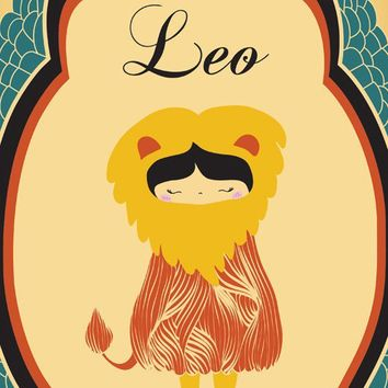 "Leo Zodiac Art Print, ""LEO"" Birth Sign, Leo Constellation Illustration Print Art, Wall Decor, Poster"