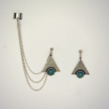 silver triangle turquoise ear cuff earrings, chains ear cuff, geometric ear cuff, ear cuff with chains