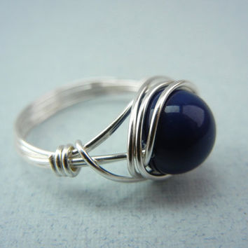 Silver Wire Ring - Wire Wrapped Ring - Dark Lapis Pearl Ring