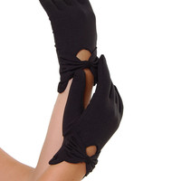 BEST SELLER! Sure Fit Black Wrist Length Bow Keyhole Gloves - Unique Vintage - Prom dresses, retro dresses, retro swimsuits.