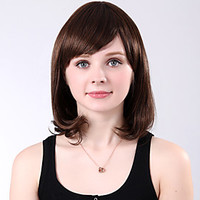 Capless Medium High Quality Synthetic Brown Wavy Full Bang Wings