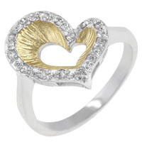 Accented Two-tone Finished Heart Ring, size : 10