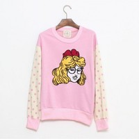 Round Collar Pink long polka dot sleeve cartoon print round neck cotton sweatshirt  Other type  Print, Polka Dot  Pop  style zz909011 in  Indressme
