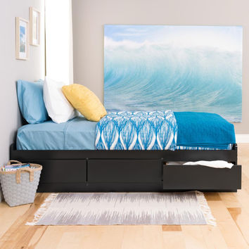 Black Twin Mate Platform Storage Bed with 3 Drawers