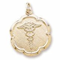 Caduceus Disc Charm In Yellow Gold