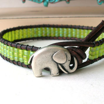 Lucky Girl elephant bracelet, chartreuse leather wrap bracelet, Bohemian jewelry, yellow green friendship good luck charm, boho