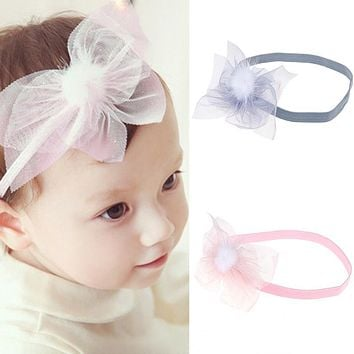 Girls Hair Accessories Baby Elastic Lace Flowers Headbands Newborn Infant Lovely Bow knot Head wear
