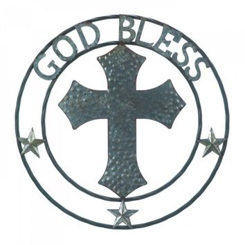 Galvanized Cross God Bless Wall Decor