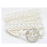 Pearl Wrap Bracelet- Customize for your Bride or Bridesmaids-by LEATHER WRAPS