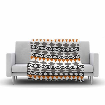 "Li Zamperini ""Tribal African"" Black Brown Illustration Fleece Throw Blanket"