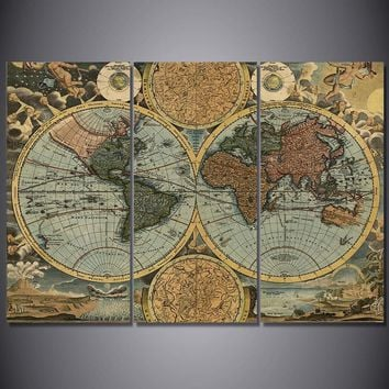 Vintage World Map Limited Edition 3-Piece Wall Art Canvas