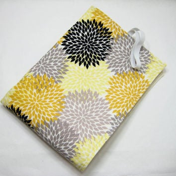 Modern Floral Diaper Mat, Gray and Yellow Changing Mat, Baby Shower Gift, Diaper Bag Gift