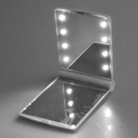BestDealUSA Girl Compact / Make Up Mirror with 8 LED Lights White