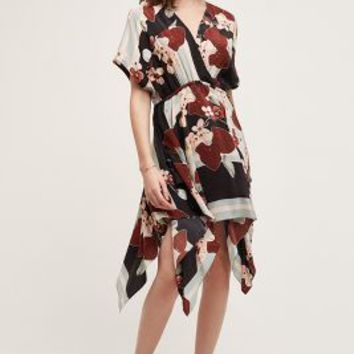 Tryb Wrapped Silk Dress in Brown Motif Size: