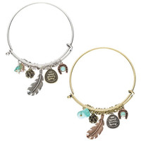 TEXAS ROSE & FEATHER CHARM HOOK Bangle *BR4842-12*